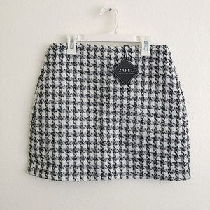 NWT Zaful Houndstooth Black White Mini Skirt
